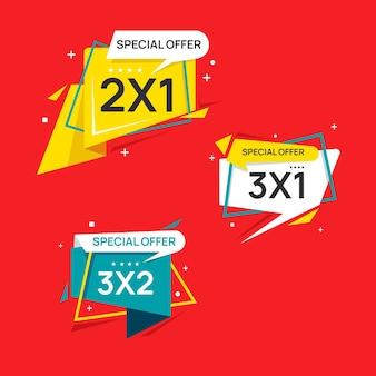 Conjunto de etiquetas de oferta especial de compras.