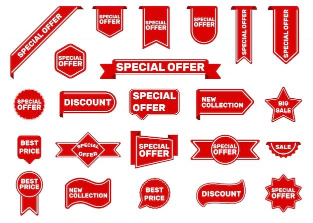 Conjunto de etiquetas de oferta especial