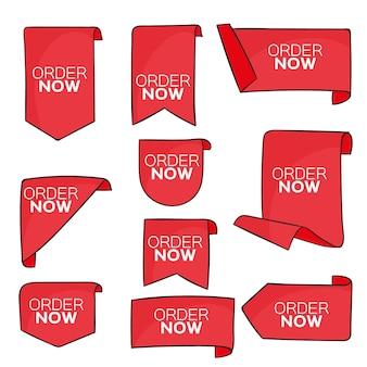 Conjunto de etiquetas de orden rojo ahora
