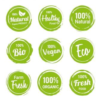 Conjunto de etiquetas orgánicas naturales productos vegetarianos