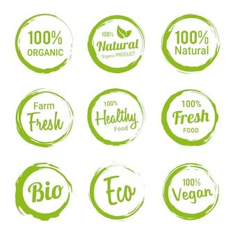 Conjunto de etiquetas orgánicas productos vegetarianos