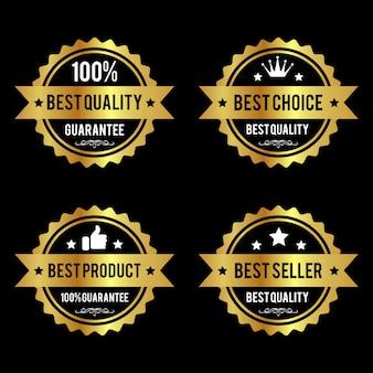 Conjunto de etiquetas de oro de primera calidad premium.
