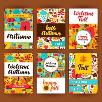 Conjunto de etiquetas de otoño. ilustración vectorial del concepto estacional de otoño. diseño de placa imprimible.