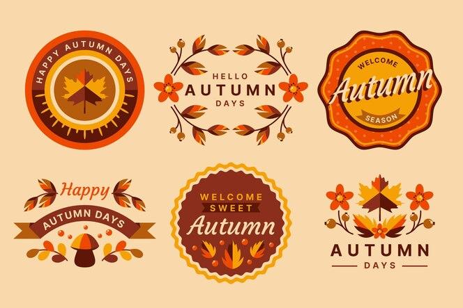 Conjunto de etiquetas de otoño