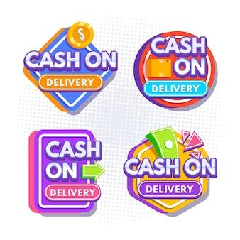Conjunto de etiquetas de pago contra reembolso