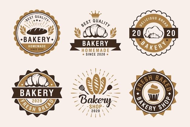 Conjunto de etiquetas de panadería vintage, insignias y elementos de diseño
