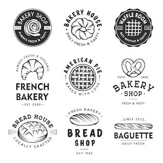 Conjunto de etiquetas de panadería.