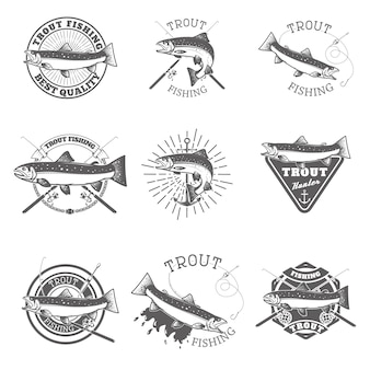 Conjunto de etiquetas de pesca de trucha.
