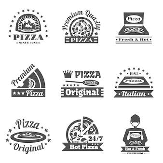 Conjunto de etiquetas de pizzería