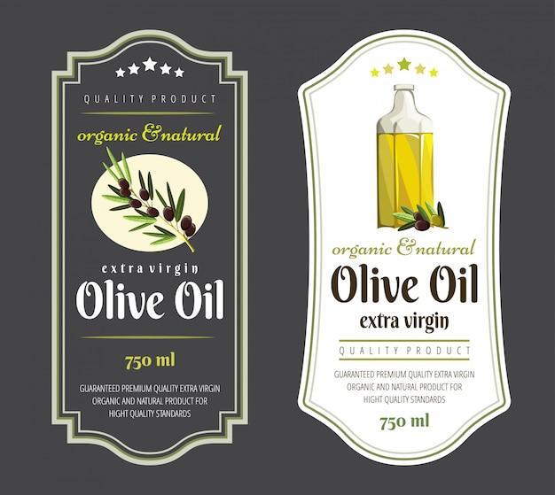 Conjunto de etiquetas planas e insignias de aceite de oliva. etiquetas de aceite de oliva. plantillas dibujadas a mano para el envasado de aceite de oliva.