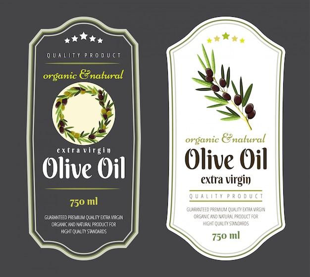 Conjunto de etiquetas planas e insignias de aceite de oliva. plantillas dibujadas a mano para el envasado de aceite de oliva.
