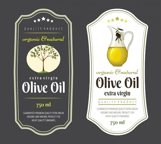 Conjunto de etiquetas planas e insignias de aceite de oliva.