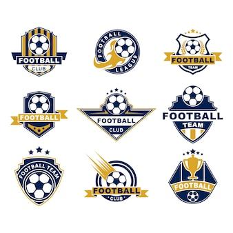 Conjunto de etiquetas planas de equipo o club de fútbol