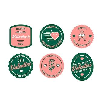 Conjunto de etiquetas planas de san valentín