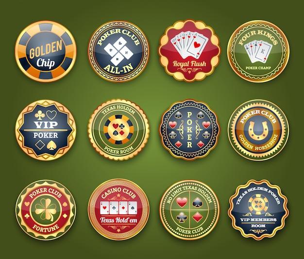 Conjunto de etiquetas de póquer brillante
