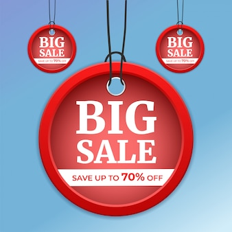 Conjunto de etiquetas de precio y grandes descuentos de venta con una vista 3d