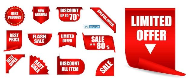 Conjunto de etiquetas de precio realistas aisladas o simuladas de etiquetas rojas en blanco que ofrecen colección o cinta de plantilla
