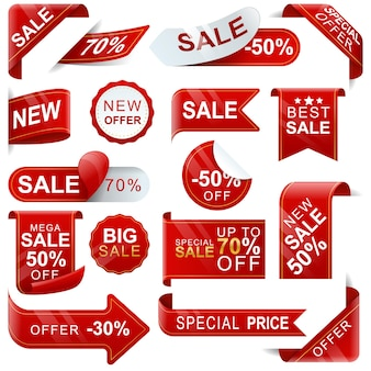 Conjunto de etiquetas de precio rojas realistas, venta de etiquetas 30%, 50%, 70%. ventas y etiquetas de etiquetas, plantillas de etiquetas de compras. etiquetas de descuento. ilustración vectorial
