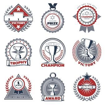 Conjunto de etiquetas de premios deportivos coloridos