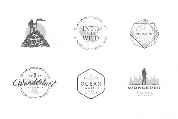 Conjunto de etiquetas premium sobre los temas de vida silvestre, naturaleza, caza, viajes, naturaleza salvaje, escalada, camping, vida en las montañas,