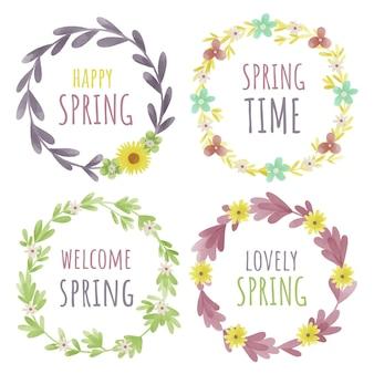 Conjunto de etiquetas de primavera acuarela
