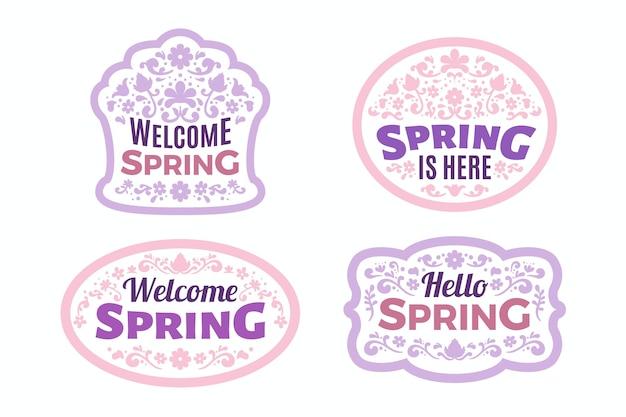 Conjunto de etiquetas de primavera de diseño plano