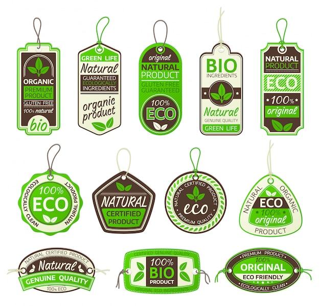 Conjunto de etiquetas de producto ecológico