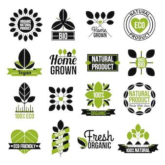 Conjunto de etiquetas de productos naturales orgánicos