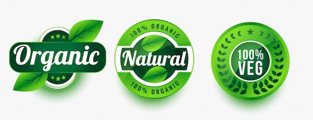 Conjunto de etiquetas de productos vegetales orgánicos naturales.