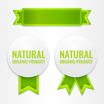 Conjunto de etiquetas de promoción con cintas para productos orgánicos naturales.