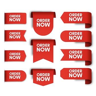 Conjunto de etiquetas de promoción de orden ahora