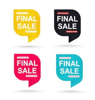 Conjunto de etiquetas promocionales para ofertas especiales.