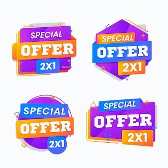 Conjunto de etiquetas promocionales con ofertas especiales.
