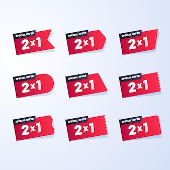 Conjunto de etiquetas promocionales con ofertas especiales