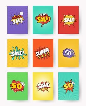 Conjunto de etiquetas promocionales con venta de letras, descuento. arte pop, ilustración de estilo cómico. colección banner publicitario, folleto, tarjeta.
