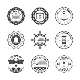 Conjunto de etiquetas de puerto marítimo