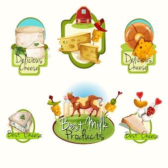 Conjunto de etiquetas de queso