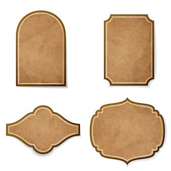 Conjunto de etiquetas realistas de cuero