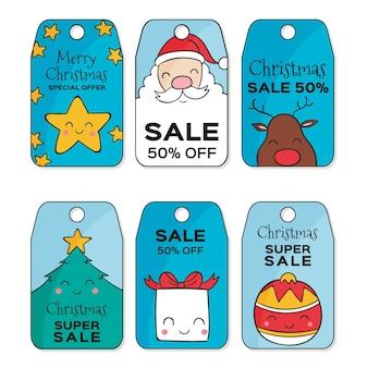 Conjunto de etiquetas de rebajas navideñas dibujadas a mano