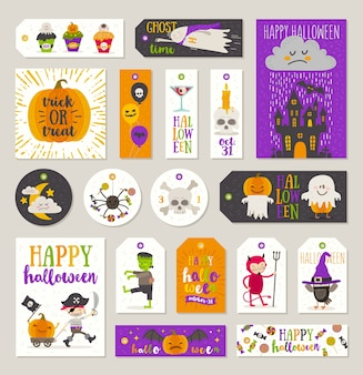 Conjunto de etiquetas de regalo de halloween y etiquetas con personajes de dibujos animados, saludos, signo y símbolo de vacaciones. ilustración.