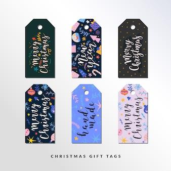 Conjunto de etiquetas de regalo para navidad y año nuevo