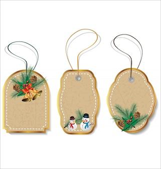 Conjunto de etiquetas de regalo de navidad