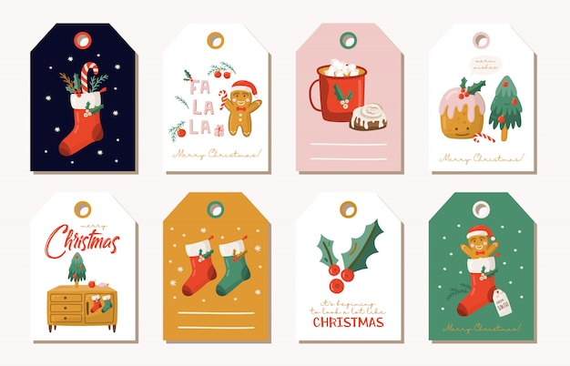 Conjunto de etiquetas de regalo de navidad.