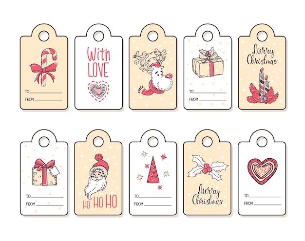 Conjunto de etiquetas de regalo navideño con elementos decorativos.