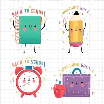 Conjunto de etiquetas de regreso a la escuela dibujadas a mano