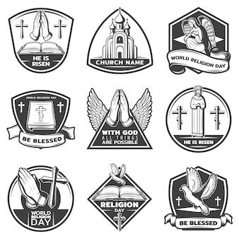 Conjunto de etiquetas religiosas monocromáticas vintage