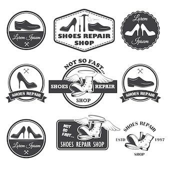 Conjunto de etiquetas de reparación de zapatos vintage, emblemas y elementos diseñados.