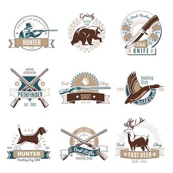 Conjunto de etiquetas retro de caza