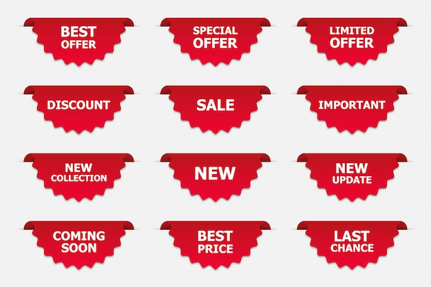 Conjunto de etiquetas en rojo aislado en blanco. promoción de banners.