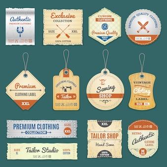 Conjunto de etiquetas de ropa